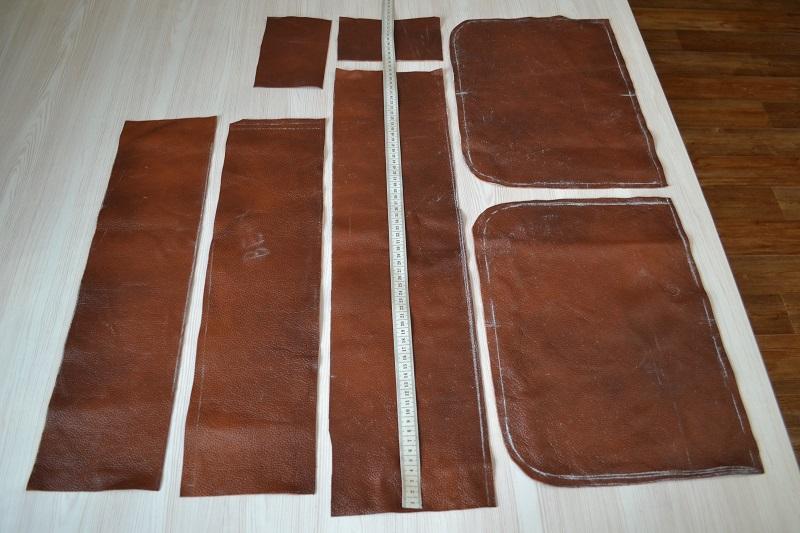 Детали кроя сумки из кожи