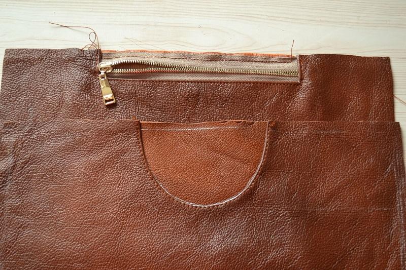 Лицевая и обратная сторона сумки из кожи