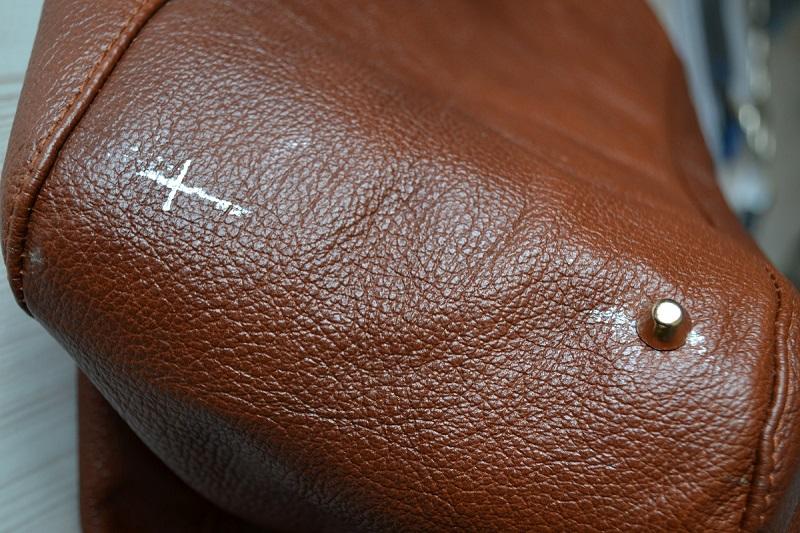 Разметка ножек сумки из кожи