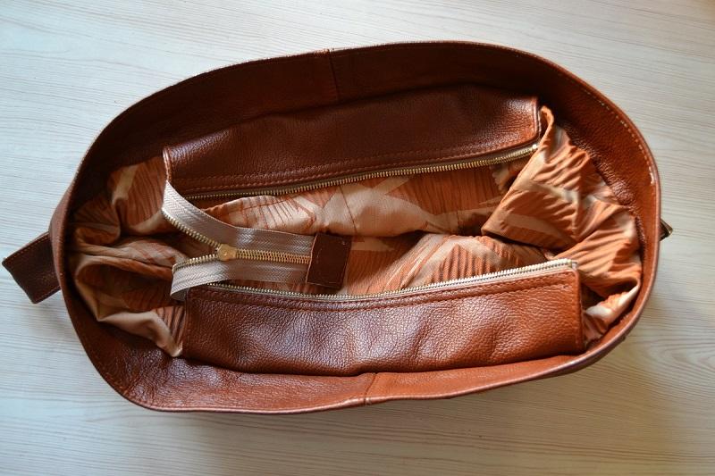 Вид сверху - сумка из кожи