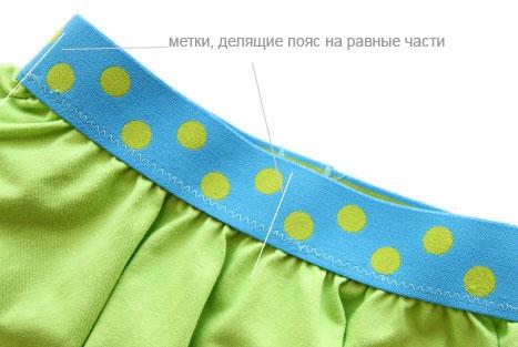 Резинка притачивается к юбке отдельно