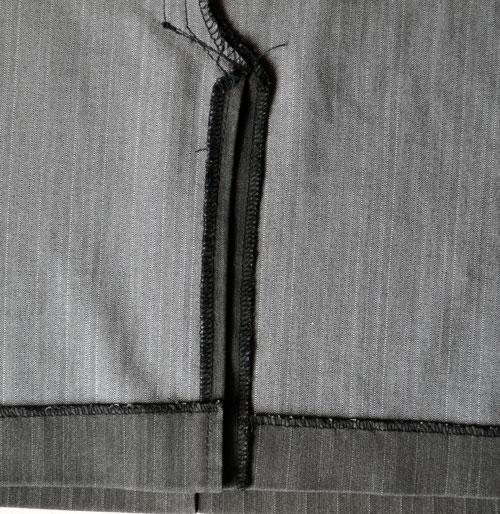 Подгибка нижней части шлицы