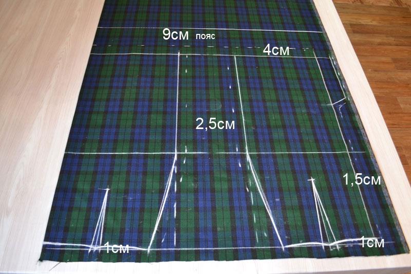 Построение прямой юбки на ткани-шаг 11