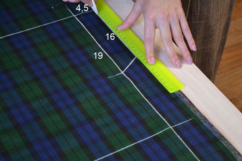Построение прямой юбки на ткани-шаг 2