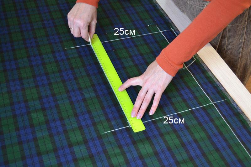 Построение прямой юбки на ткани-шаг 3